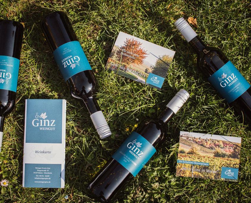 Weingut Ginz Etiketten blau, Grußkarten, Weinkarte